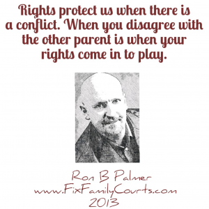 Rights protect us when there is a conflict. When you disagree with the other parent is when your rights come in to play.