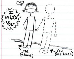 a drawing of a stick figure holding hands with a person who has abandoned them saying I miss you.